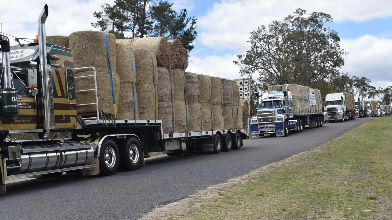 20 trucks filled with water and fodder rolling into Stanthorpe Showgrounds