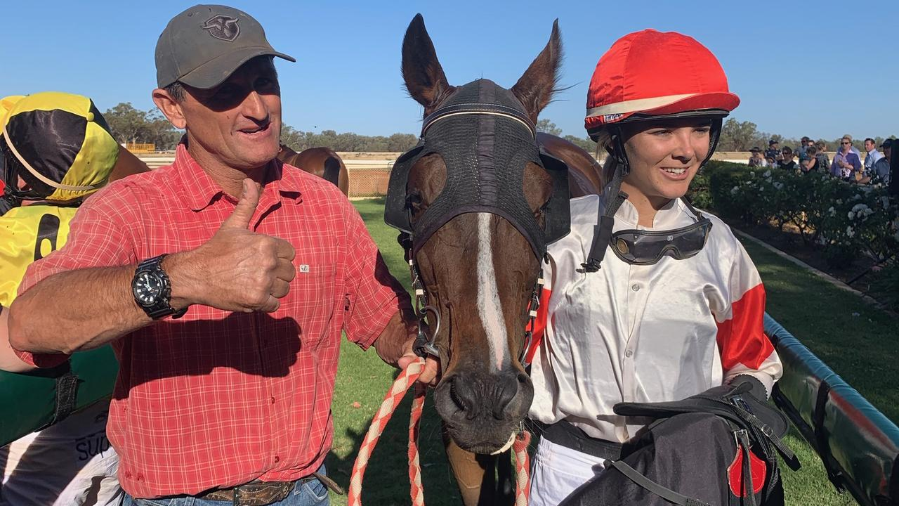 Trainer Bevan 'Billy' Johnson, with horse Money Ad and jockey Minionette Kennedy won the Charleville Cup 2019