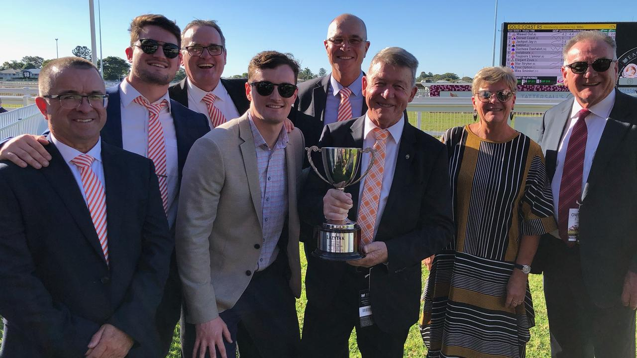 Owners of Melbourne Cup runner Vow and Declare Anthony Lanskey (third from left), Helga Hueston and Paul Lanskey (far right pair). Pictured: Contributed.