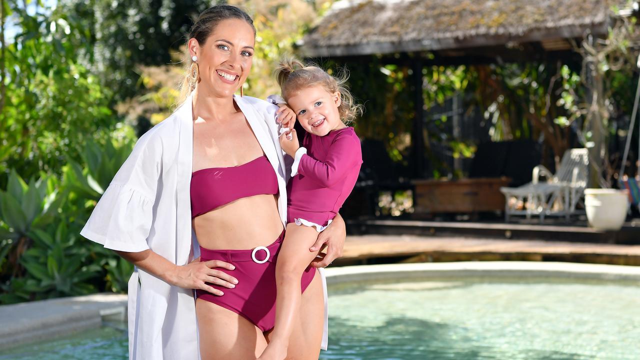 Coast swimwear creator, Monika King with her daughter, Zara Cashin, 2. Photo Patrick Woods / Sunshine Coast Daily.