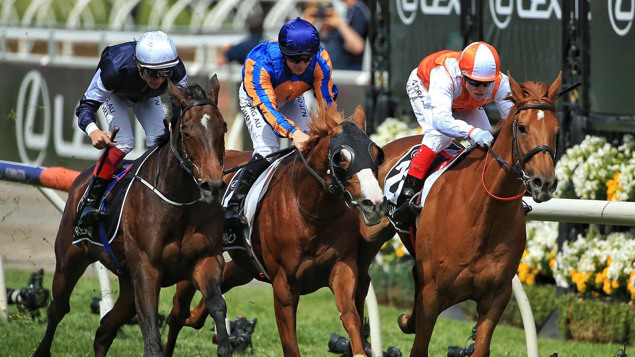 Vow and Declare (right) wins ahead of Master of Reality (left) and Il Paradiso (centre). Picture: Mark Stewart