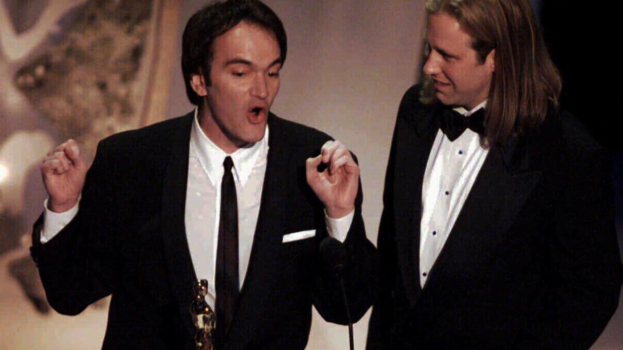 Quentin Tarantino accepts the Academy Award for Pulp Fiction for Best Original Screenplay.