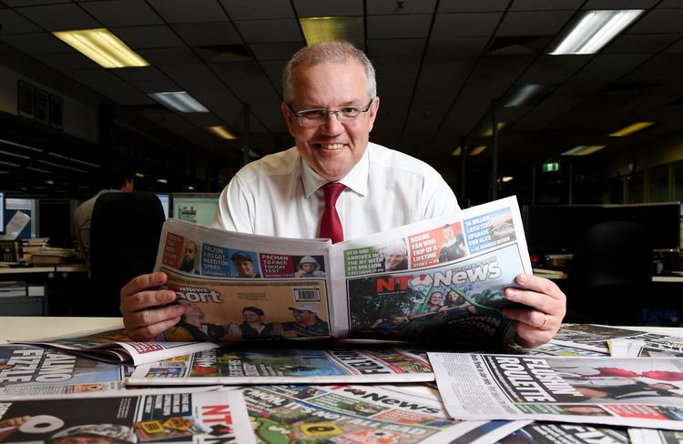Mr Morrison drops in happier times with the NT News. Picture: Elise Derwin