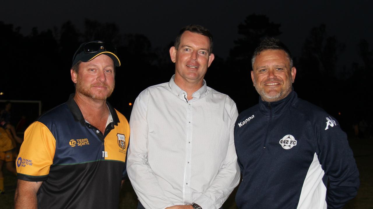 MOVING UP: Tim Gaske with Scott Clegg and USQ technical director football Matt Proctor.