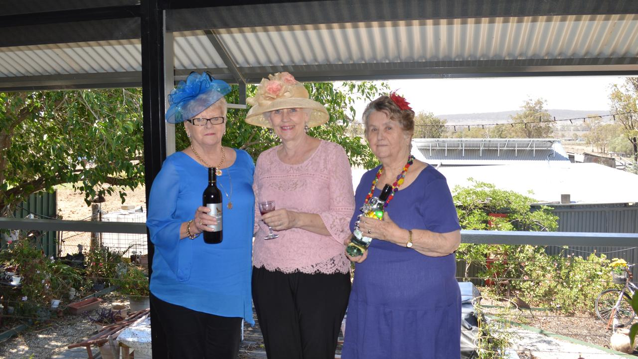 BEST DRESSED: Sue White, Raylene Swain and May Freebody at the Warner St party.
