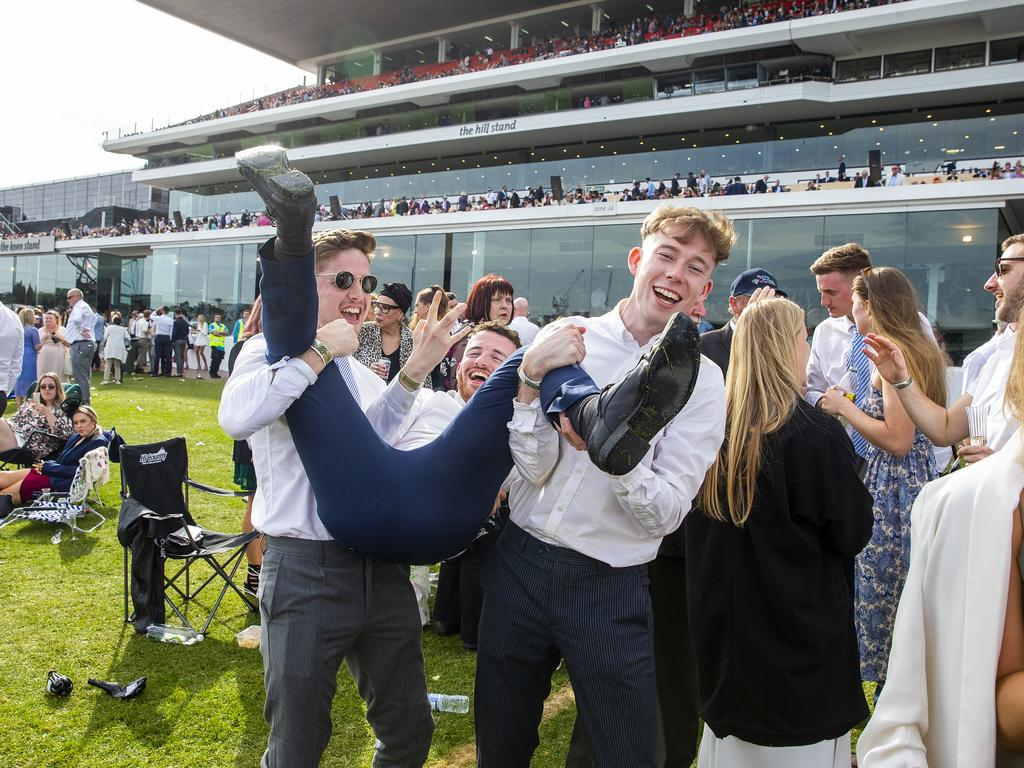 Some racegoers were too tired ot stand by the end of it. (Photo by Jenny Evans/Getty Images)
