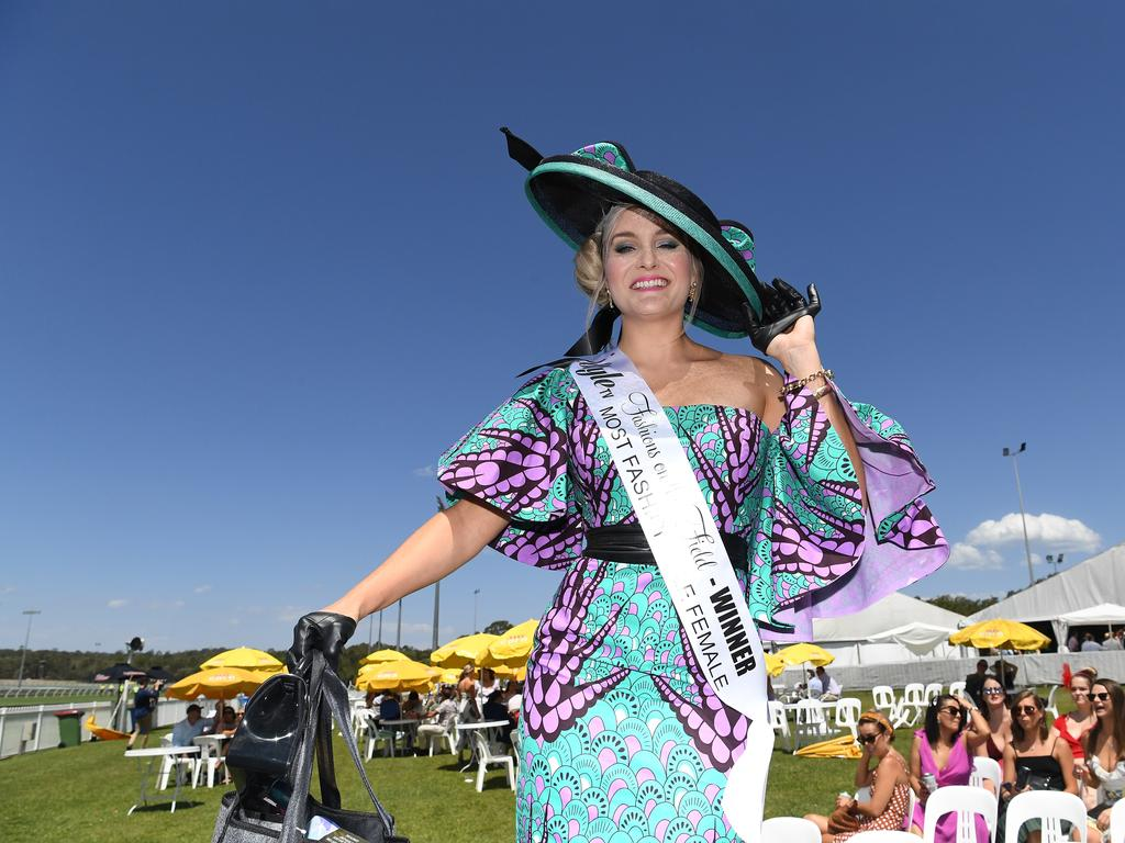 Gympie schoolteacher Helen Strong won the women's fashions on the field section at Corbould Park.
