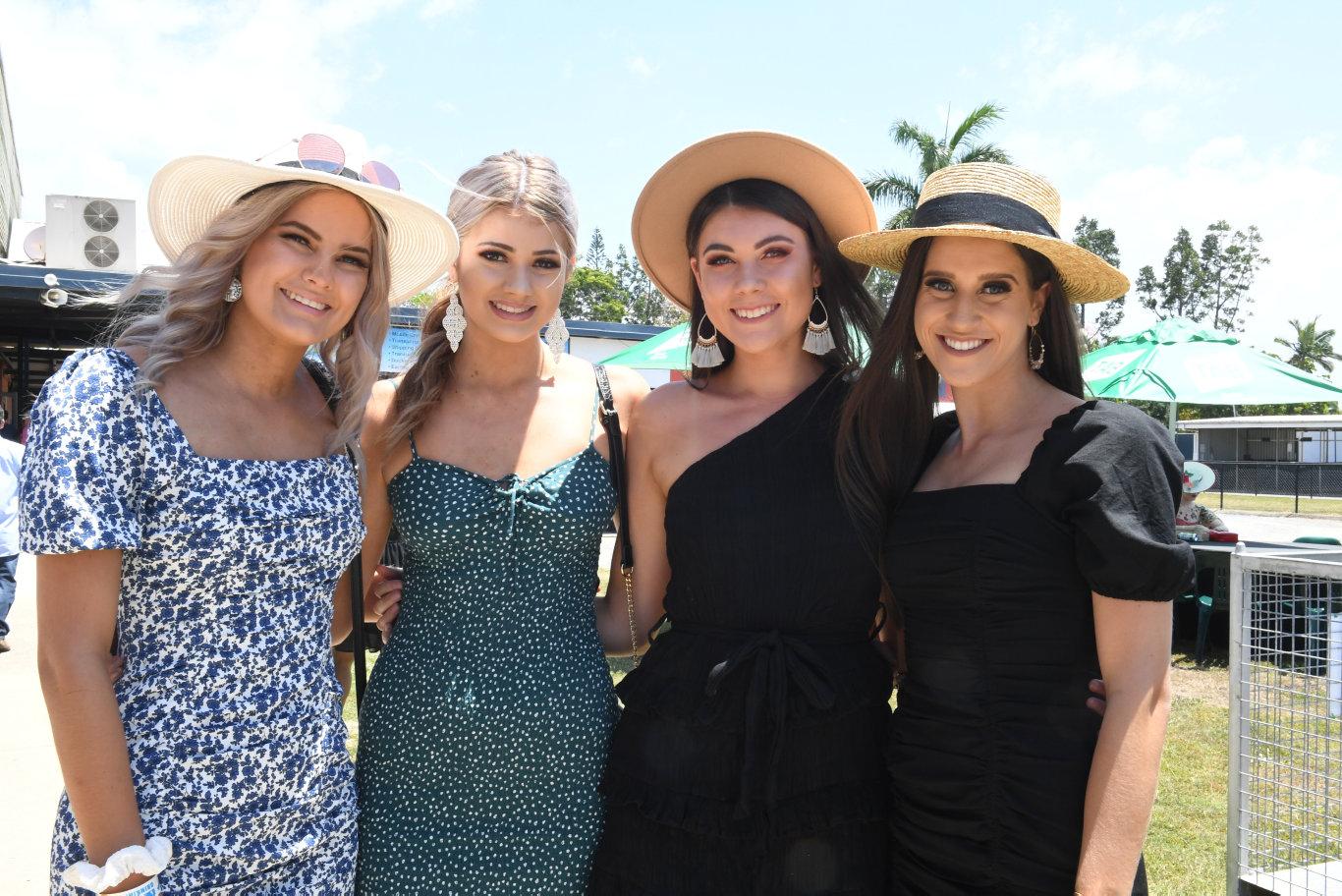Michael Pyne, Phoebe Brennan, Nakita Thomas and Emma Moir at the Melbourne Cup Race Day at Ooralea.
