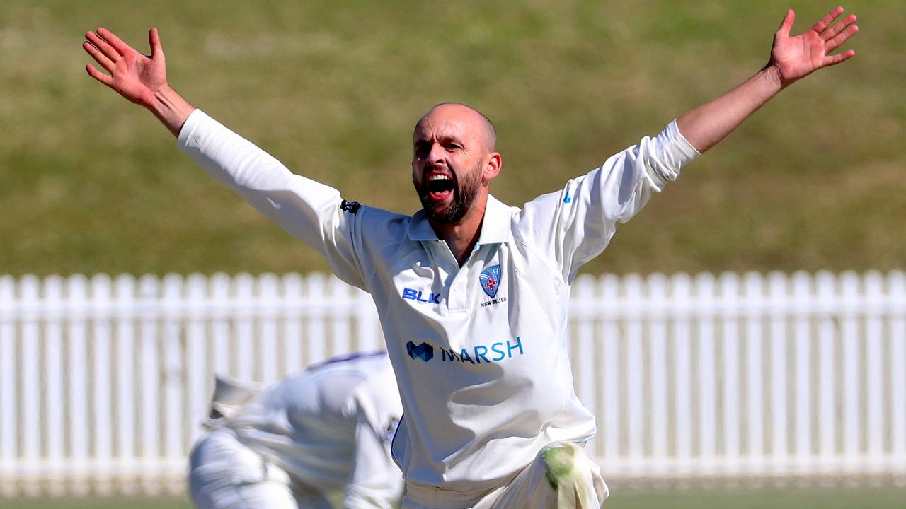 NSW bowler Nathan Lyon appeals unsuccessfully for LBW during day 3 of the Marsh Sheffield Shield match between New South Wales and Tasmania at the Drummoyne Oval in Sydney, Sunday, October 20, 2019. (AAP Image/David Gray) NO ARCHIVING, EDITORIAL USE ONLY
