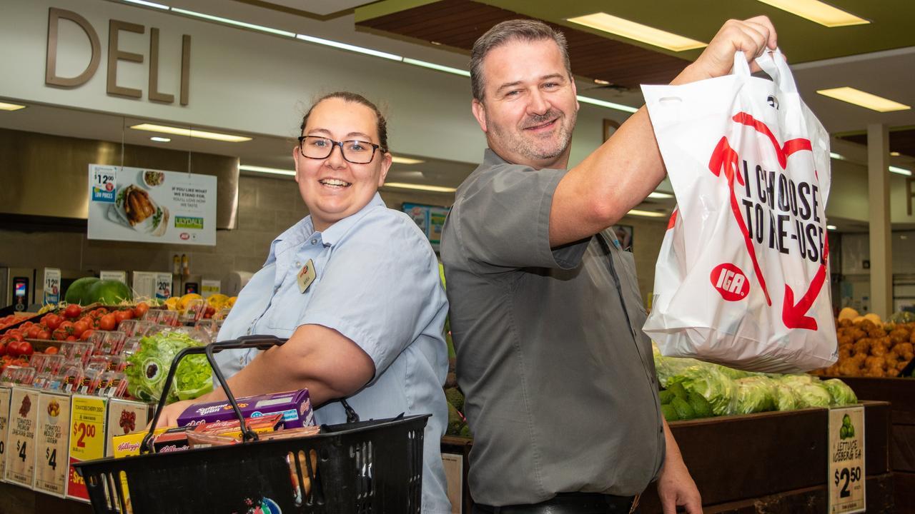 QUIET TIME: Spano's Supa IGA Gatton service manager Kayla Embrey with store manager Jason Rayner. Photo: Ali Kuchel.