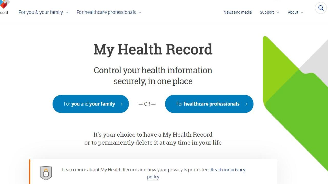 There were 37 breaches of Australia's My Health Record system in 2018-19. Picture: Supplied