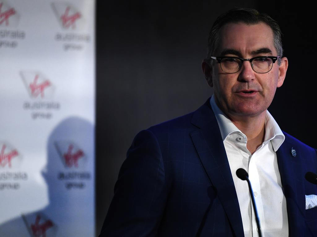 Virgin Australia CEO Paul Scurrah addresses shareholders at the company's annual general meeting in Brisbane. Pic: (AAP Image/Dan Peled)