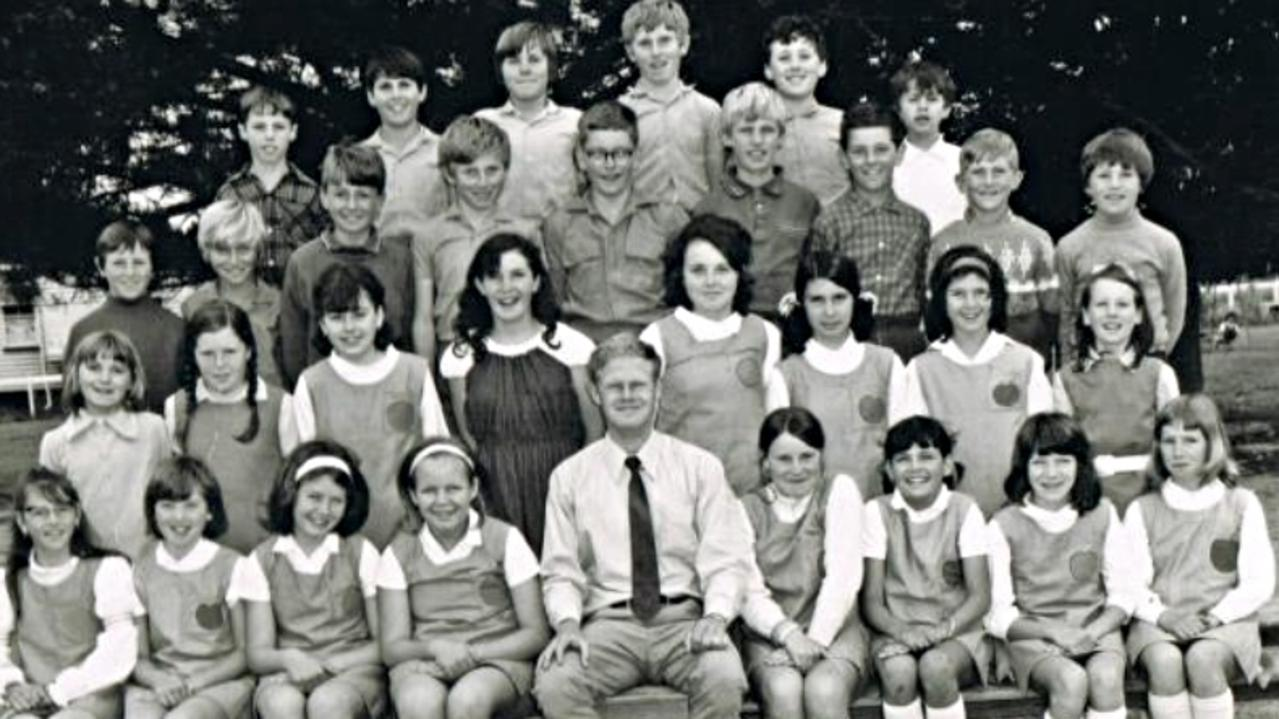 A Thulimbah State School picture from 1971 of grades 5-7. Mr Zorzi is pictured second last from the right, on the second top row - his jumper has diamonds on it. Ms Chapman is pictured first on the left, in the second row.