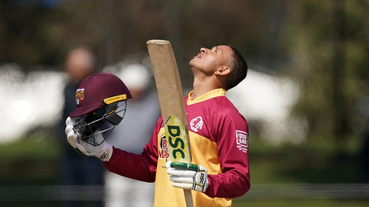 Khawaja celebrates after reaching the first of his back-to-back Marsh One-Day Cup centuries against Victoria at Junction Oval. PictureL AAP Image/Scott Barbour