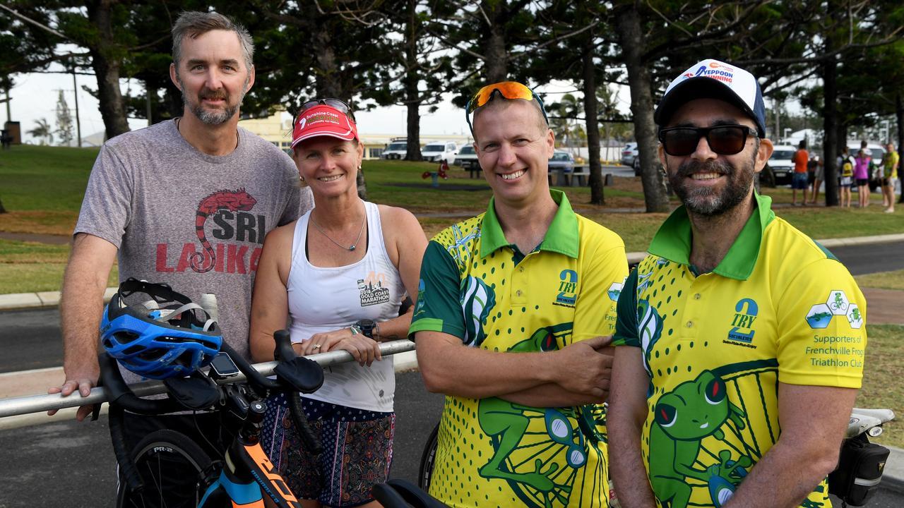 Graham and Leesa Olive, Travis McMahon and Mark Vignale at the triathlon on Emu Park