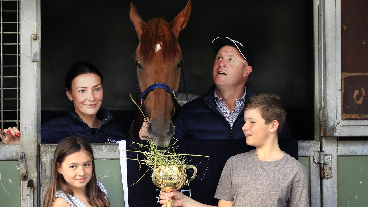 Danny O'Brien with wife Nina and kids Grace and Thomas pose with Vow And Declare at the trainer's stables the day after the win. Pic: Getty Images