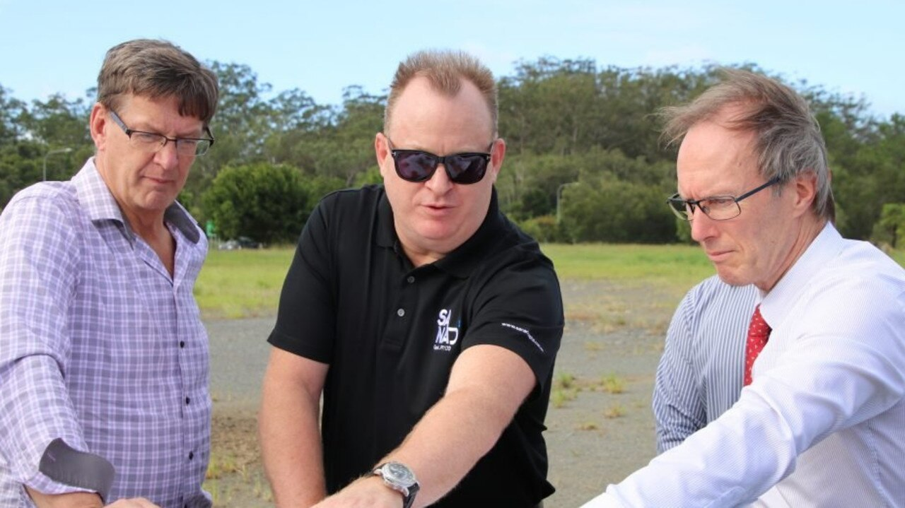 WhiteWater CEO Geoff Chutter, Sanad Capital founder Bradley Sutherland and Sunshine Coast Councillor Rick Baberowski discuss plans for the Actventure water park at Glenview.