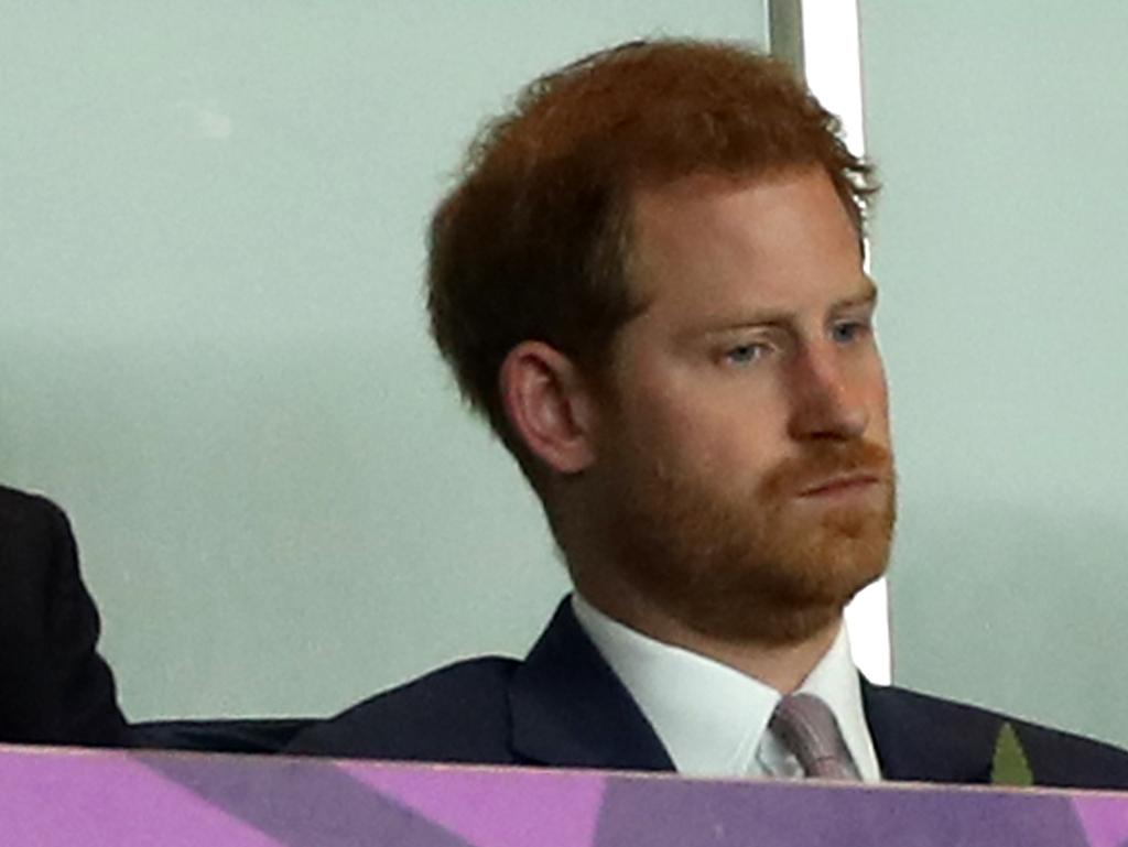 Prince Harry looking grim as he watches England lose the Rugby World Cup. Picture: Getty