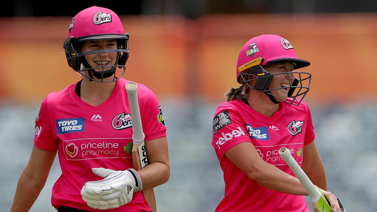 Ellyse Perry (left) and Alyssa Healy of the Sixers after their record-breaking innings. Picture: AAP