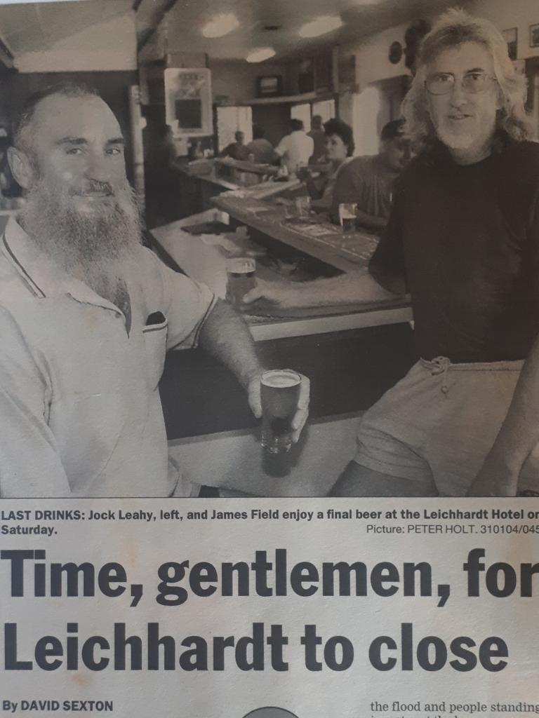 Jim Field was featured in the Daily Mercury in 2004, the last day of trading for the Leichhardt Hotel.