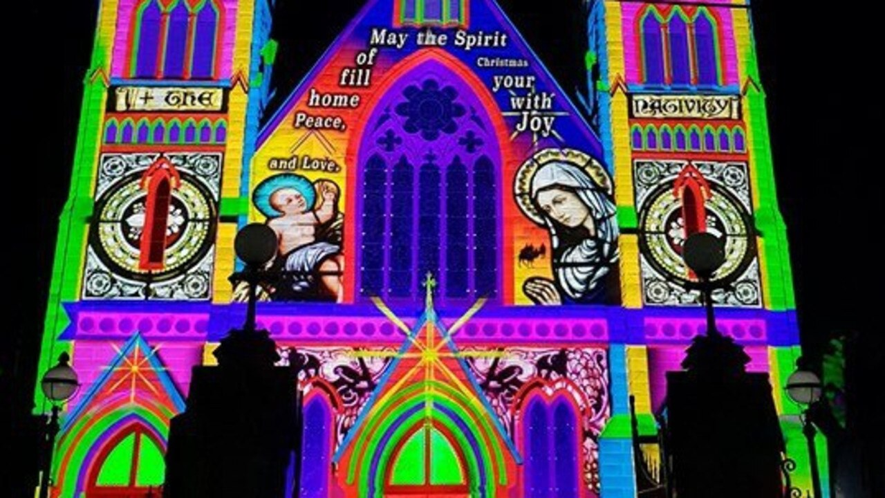 Photos of the Lights of Christmas display at the Rockhampton St Jospeh's Cathedral.