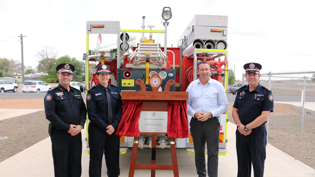 FIRE RESCUE: Acting Assistant Commissioner Darryl King, Dirranbandi Acting Captain Laura Easton, MP Craig Crawford and Acting Inspector Chris Martial at the official opening of the Dirranbandi Fire and Rescue Station.