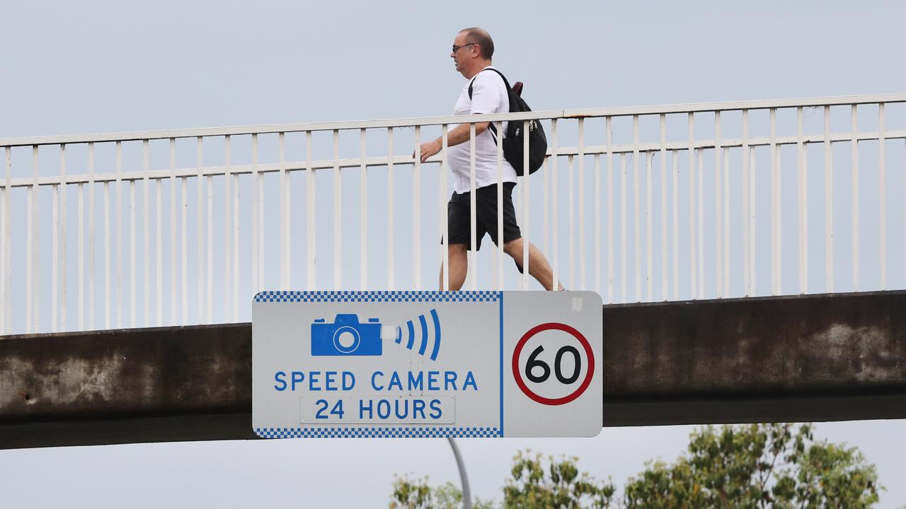 Pictured is a speed camera warning sign in Kings Cross. Picture: Richard Dobson