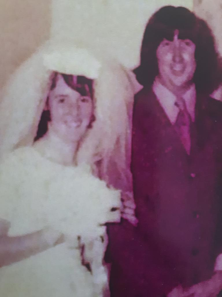 Caroline and Jim Field on their wedding day on August 26, 1972.