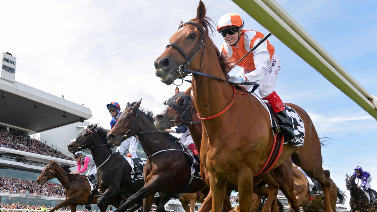 Vow And Declare ridden by Craig Williams wins the Lexus Melbourne Cup, at Flemington Racecourse on November 05, 2019 in Flemington, Australia. (Reg Ryan/Racing Photos via Getty Images)
