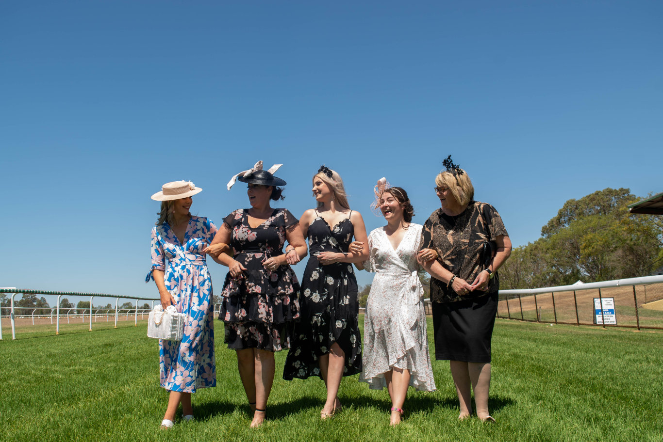 Chantelle Cameron, Tammy-Lee Spicer, Alisha, Emily Hallas and Michele Linde at the Lockyer Valley Turf Club's Oaks Race Day, 2019.