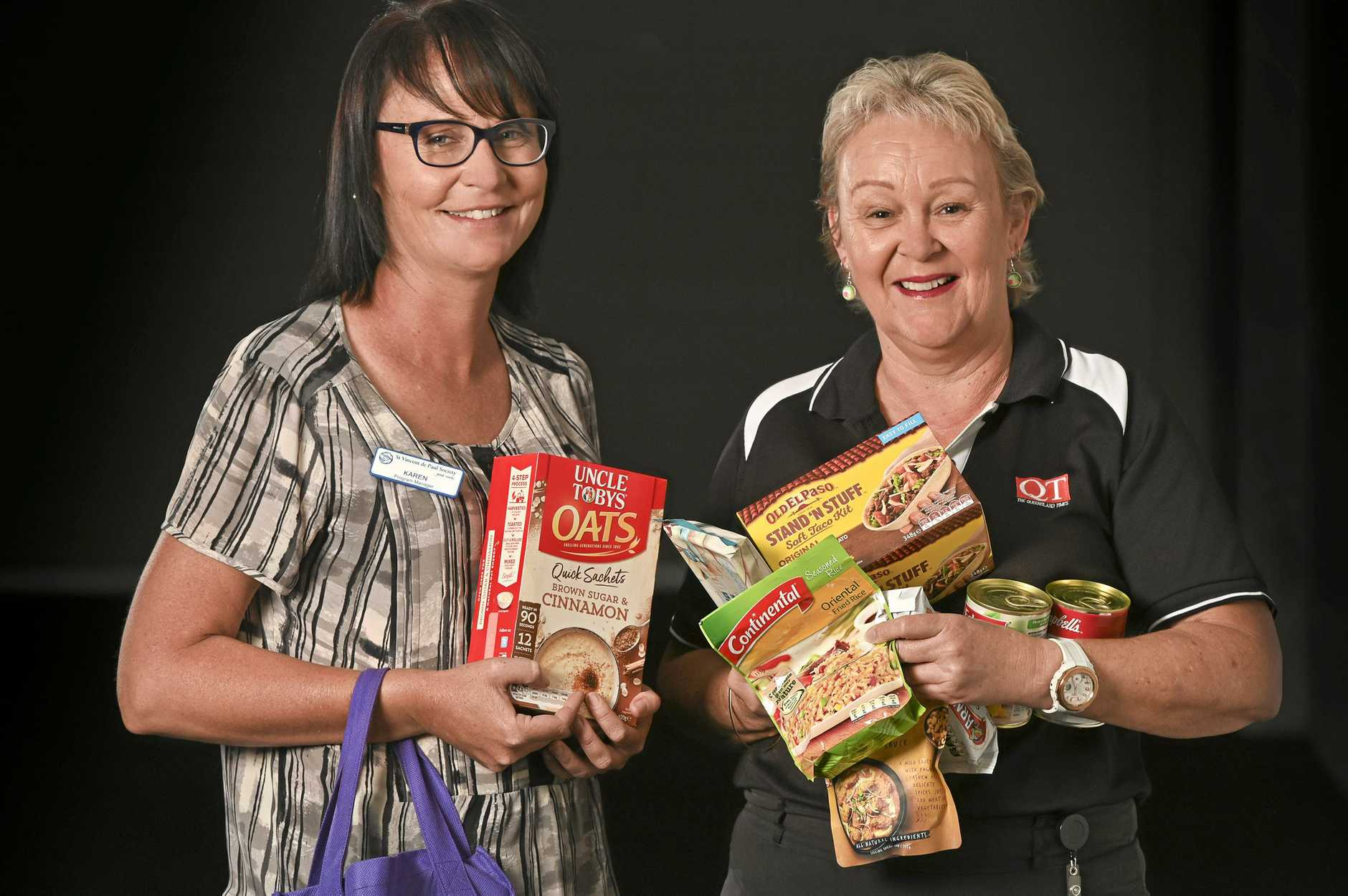 BE GENEROUS: Karen McCoombes and Karen Roberts from St Vincent De Paul Society Queensland have launched the 2019 QT Adopt-a-Family appeal.