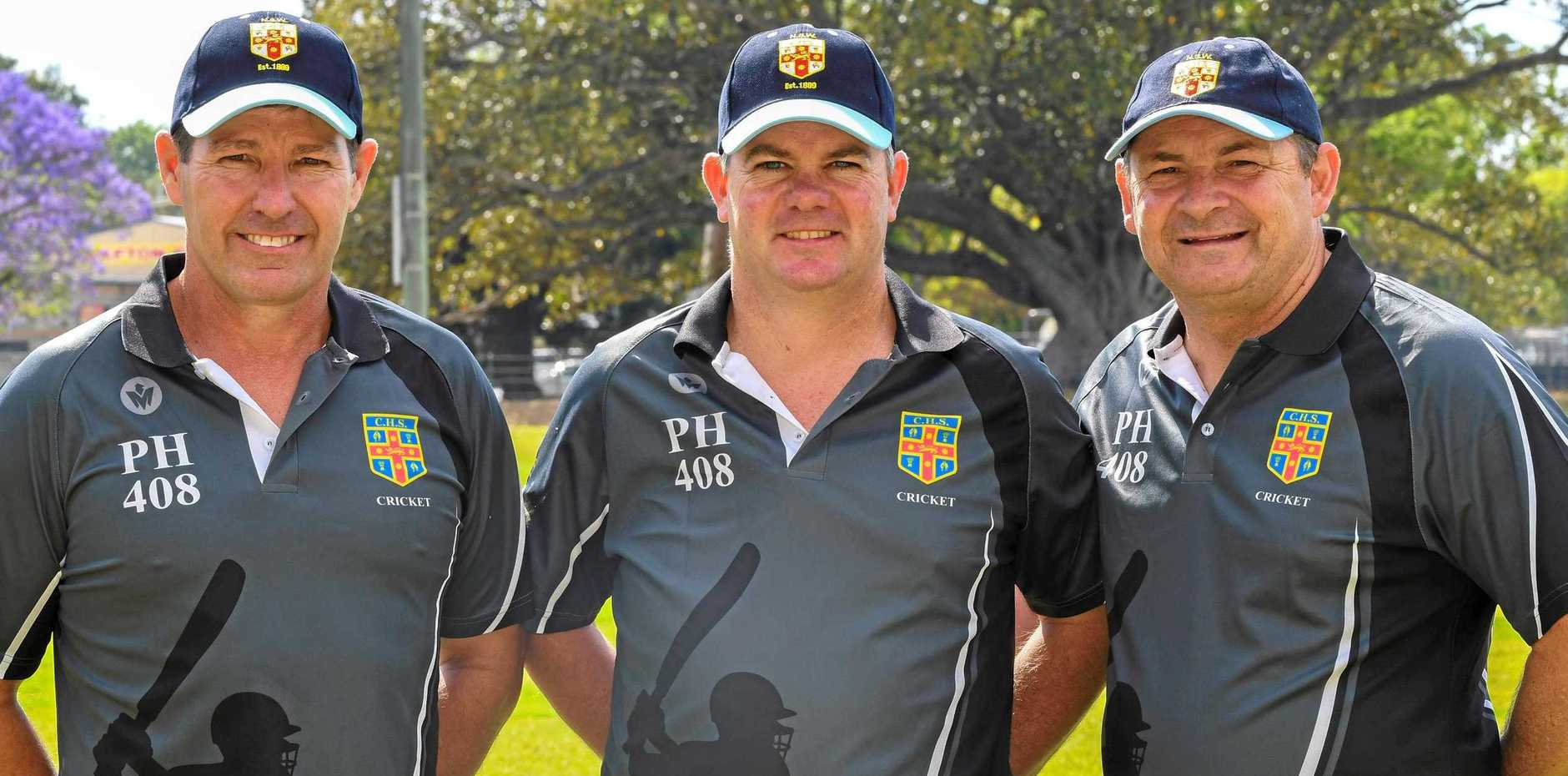 NICE TOUCH: Jeremy Moors, Terry Willis and NSW CHS Cricket convener Damian Toohey  wearing Phillip Hughes  shirts in Grafton this week as a tribute to the former CHS and Test cricketer.