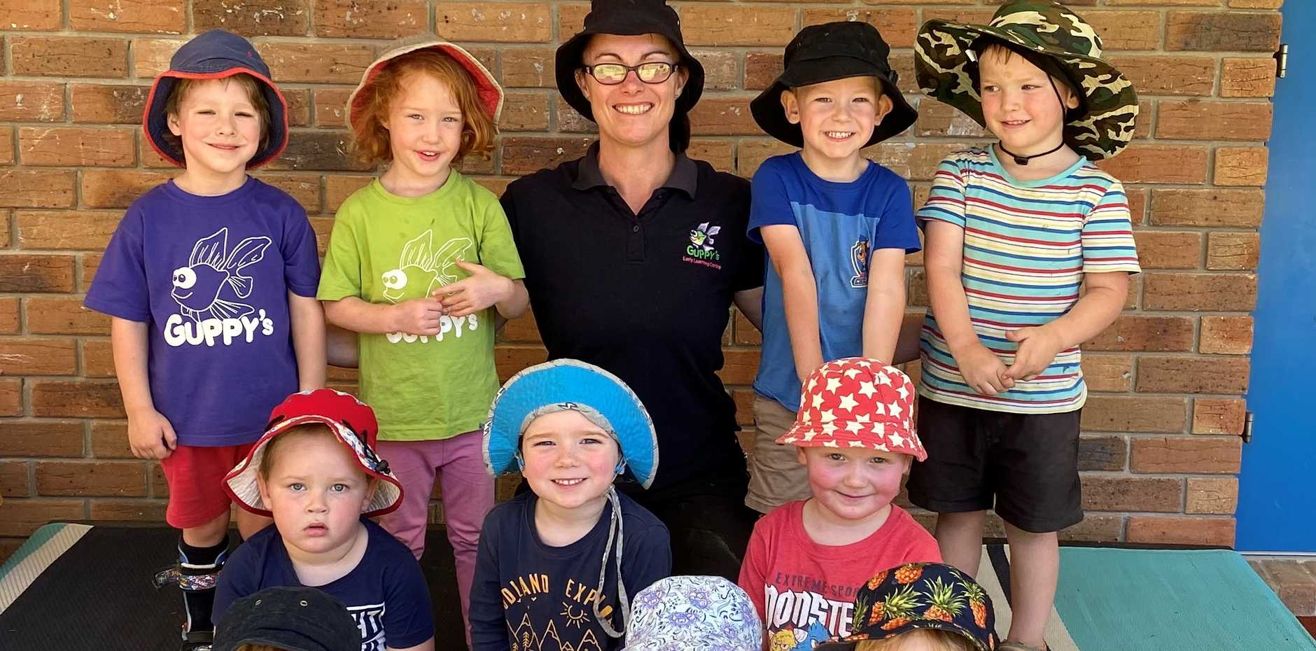 Nicole Martin with her Kindy kids from Blackbutt Guppy's Kindy.