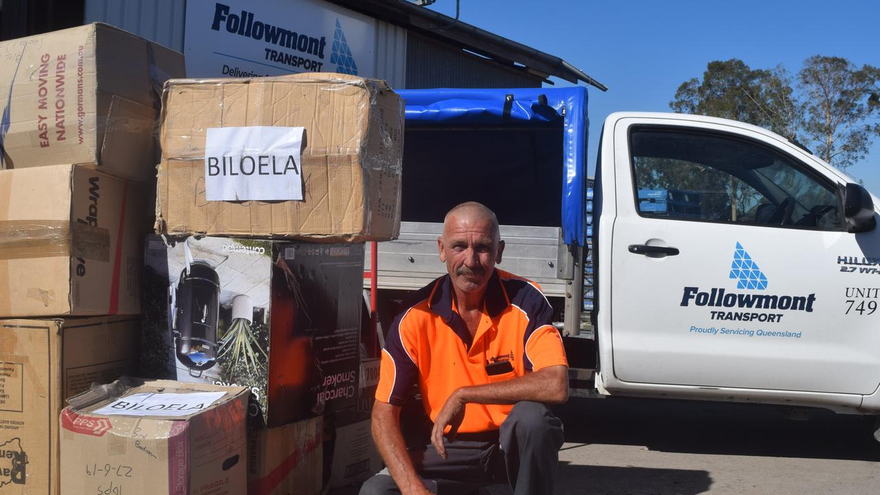 LOADING UP: John Tart from Followmont Transport Biloela is ready to help deliver rural aid supplies to struggling farmers.