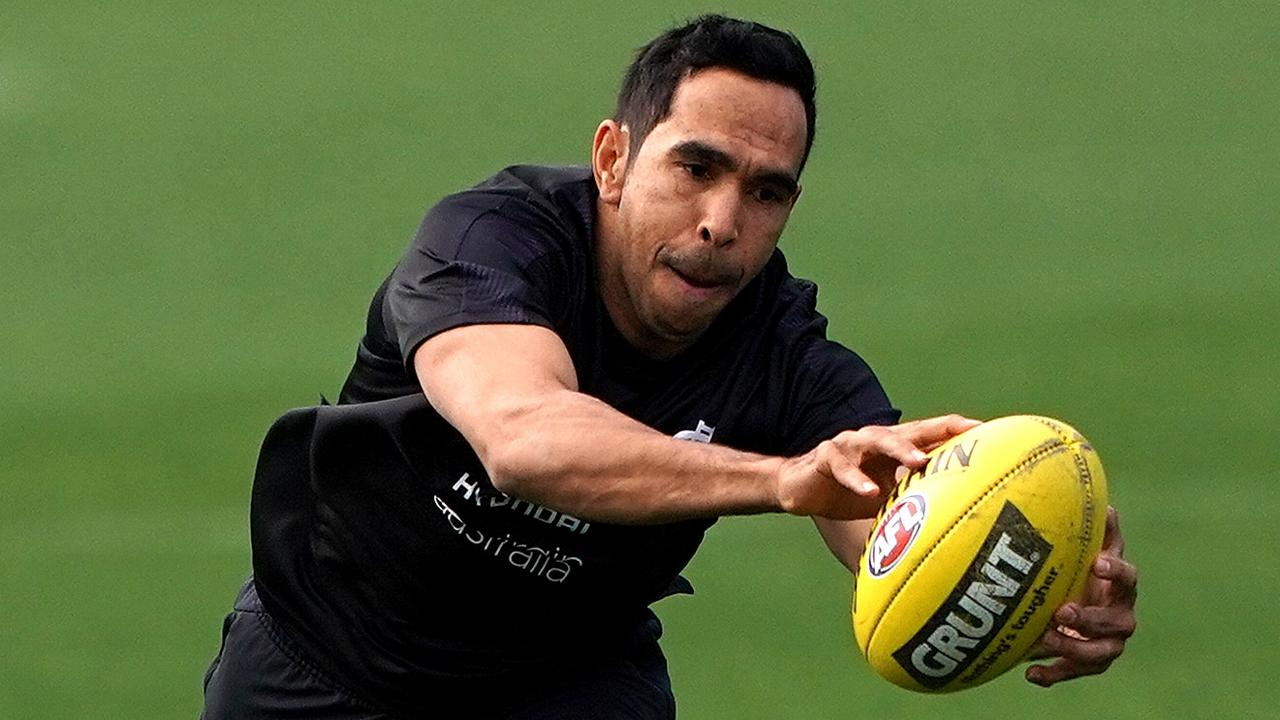 Eddie Betts trains for the first time after his return to Carlton from Adelaide.