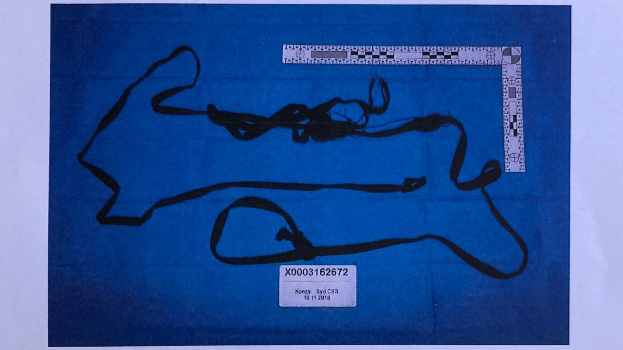 The tourniquet used by Anthony Sampieri on his young victim in the bathroom of a dance studio in Kogarah, released by the court.