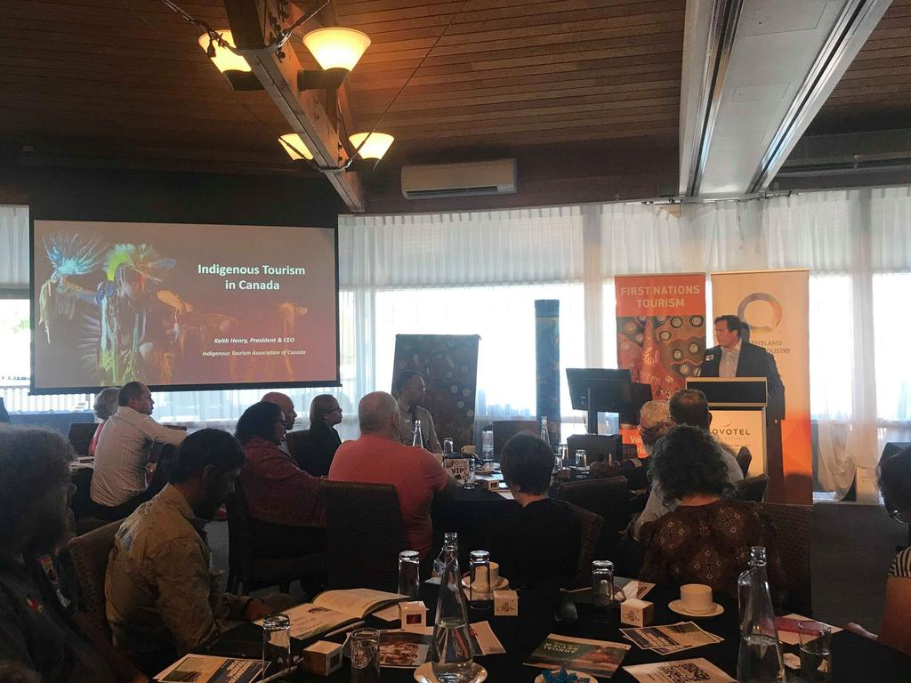 Canadian tourism boss Keith Henry speaking at the Destination IQ event on the Sunshine Coast this week.