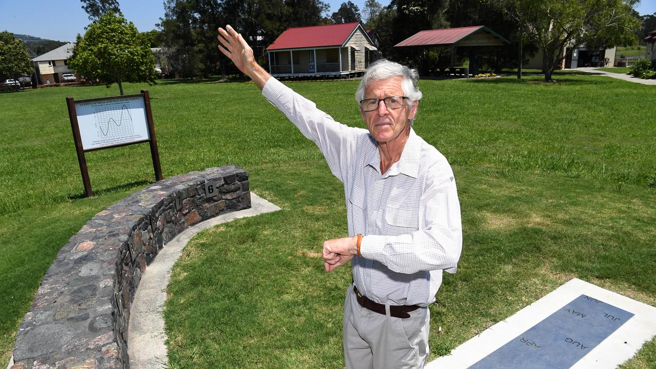 TIME: Former schoolteacher Phillip Richards with the analemmatic sundial he developed at Yandina. Photo: Warren Lynam.