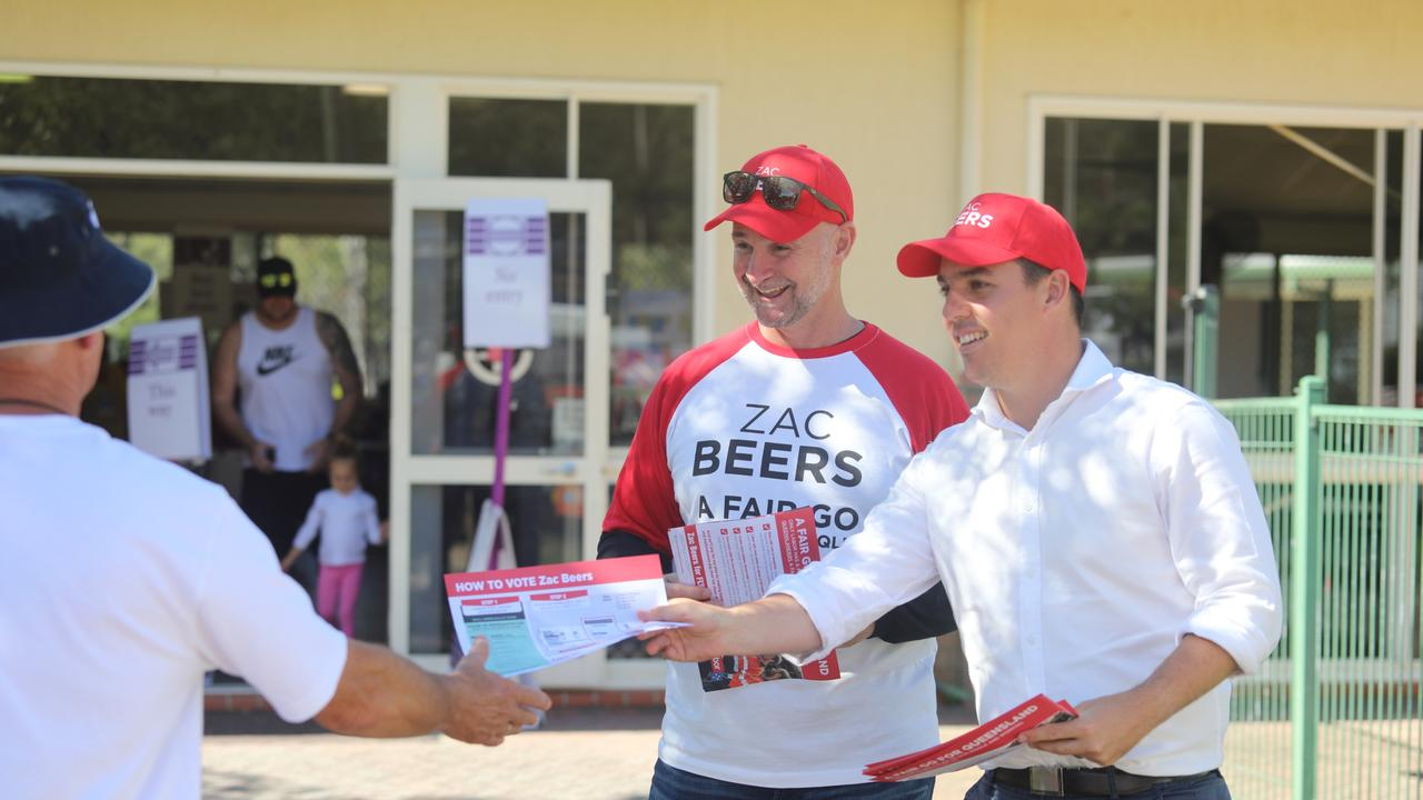 State Member for Gladstone Glenn Butcher helping out at the booth with ALP candidate for Flynn Zac Beers