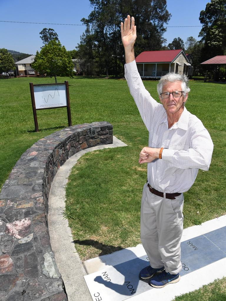 TIME: Former schoolteacher Phillip Richards with the sundial he developed at Yandina. Photo: Warren Lynam