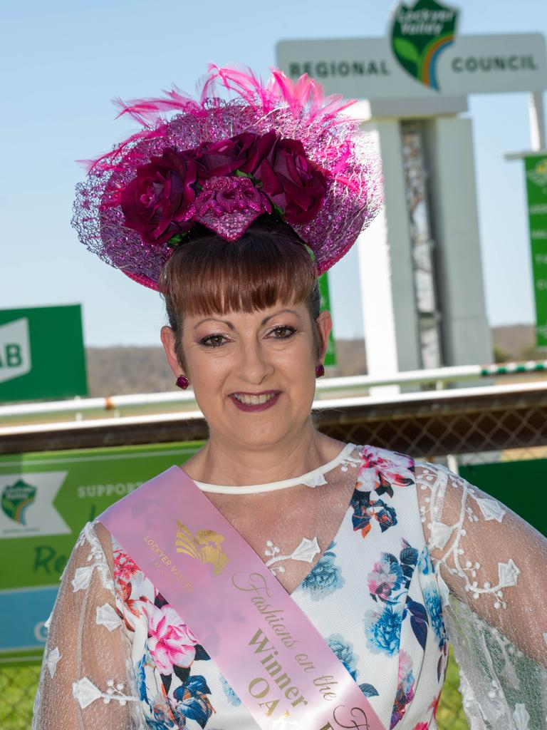 TOP HEADWEAR: Best Millinery winner Danielle Shaw, of Ipswich, at the Lockyer Valley Turf Club's Oaks Race Day, 2019. Photo: Ali Kuchel