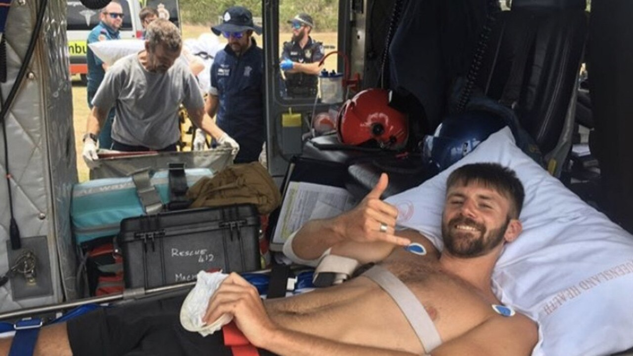 Danny Maggs shark attack victim photographed in the rescue helicopter Image: Instagram
