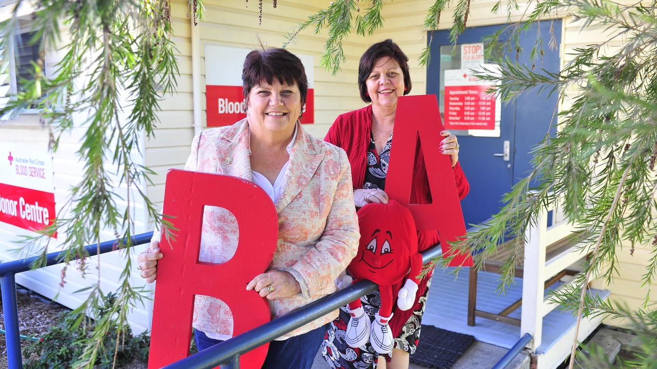 Maxine Brushe and Gail Sellers pictured in 2012 donating blood at the Australian Red Cross Blood Service.