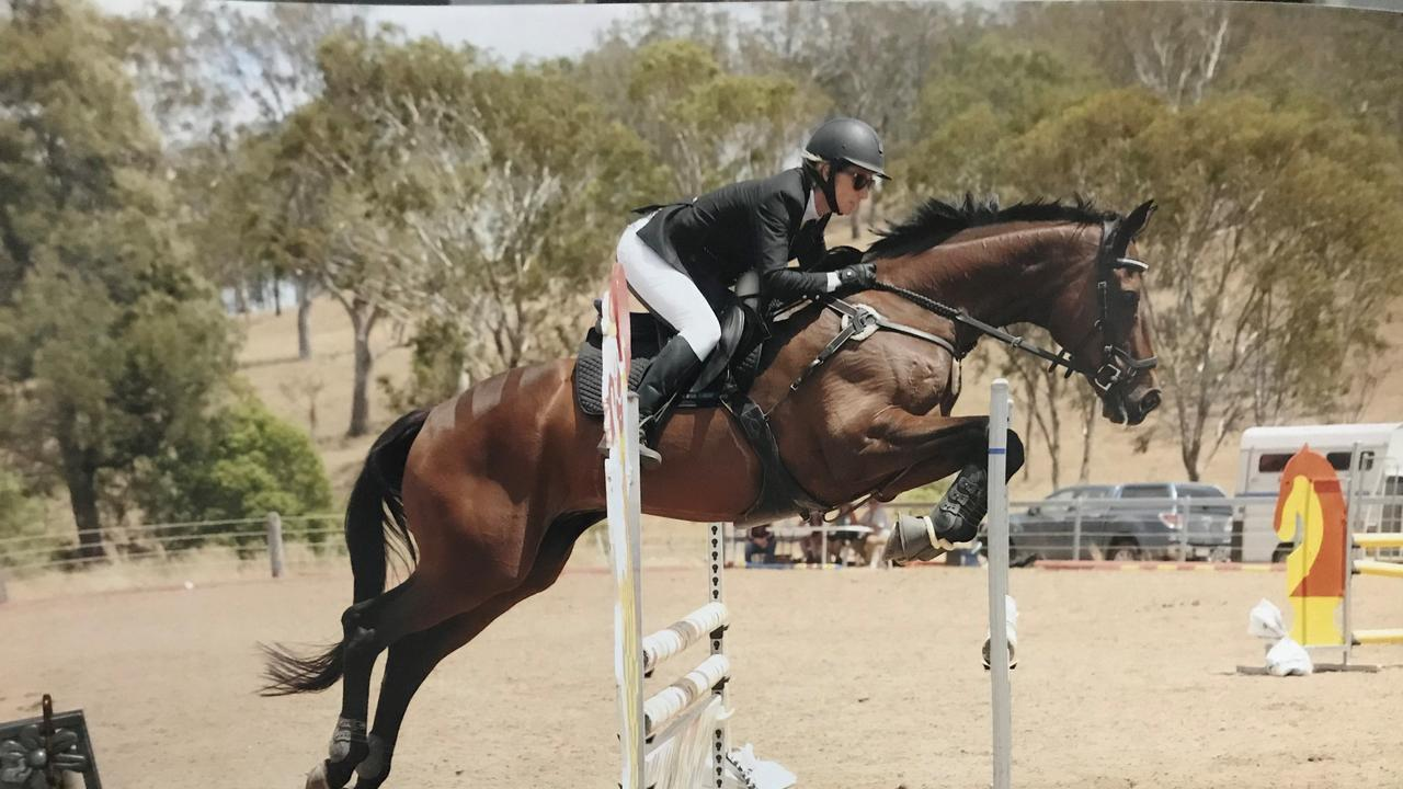 JUMP OFF: Helidon Spa horse rider Freya Chadwick and her off the track thoroughbred Skyield. Photo: Oz Shots.