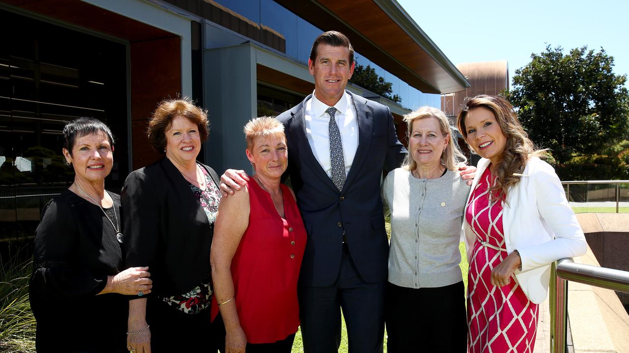 Victoria Cross recipient and Afghanistan veteran Ben Roberts-Smith met with the mothers of the young veterans who have taken their own life since serving for our country L-R Glenda Weston, Colleen Pillen, Jan Hewitt, Julie-Ann Finney and Nikki Jamieson at the Summit. Picture: Toby Zerna