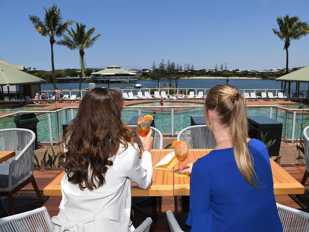 The $2 million renovations of the Novotel Sunshine Coast Resort are complete and open for business. Enjoying a drink overlooking the pool area.