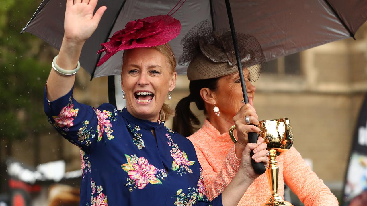 Lord Mayor Sally Capp (and VRC Chairman Amanda Elliott VRC Chairman at the 2019 Melbourne Cup Parade. Picture: Getty Images