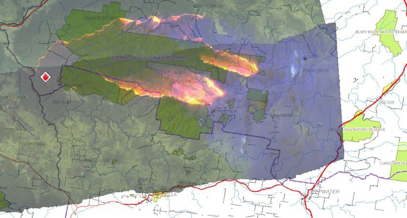 Fires burning in the Tenterfield area.