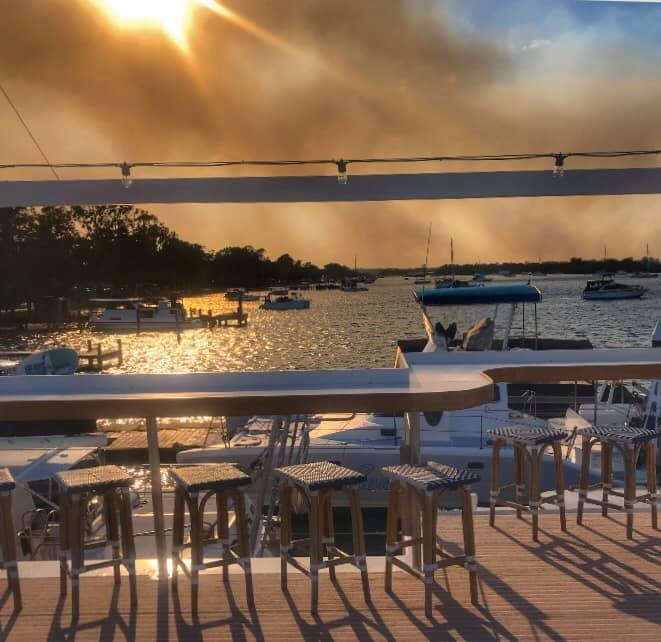 A view of the fire from the Noosa River