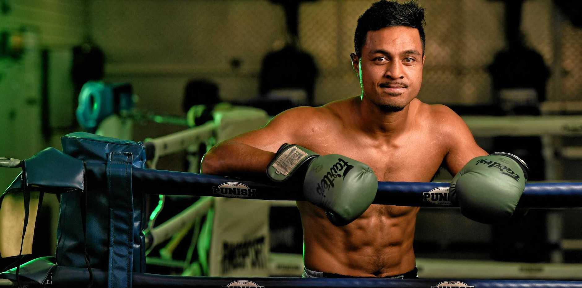 STANDING TALL: Muay Thai fighter Jonathan Aiulu, at Corporate Box gym in Bundamba, reflects on his big bout.